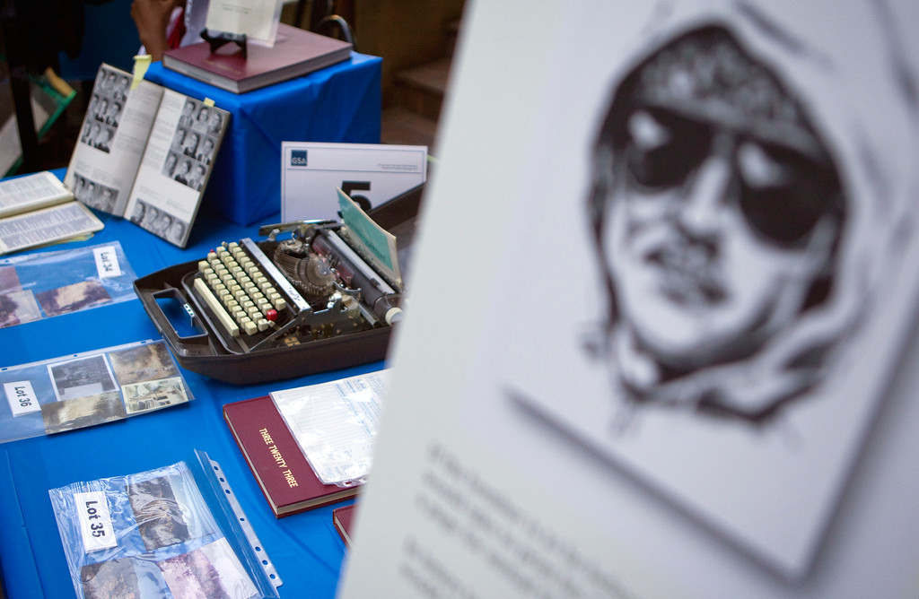 . File- In this file photo from May 18, 2011, Ted Kaczynski \'s personal items such as handwritten letters, typewriters, tools, clothing and several hundred books are auctioned off online in Atlanta with the proceeds benefiting his victims\' families. (AP Photo/David Goldman)
