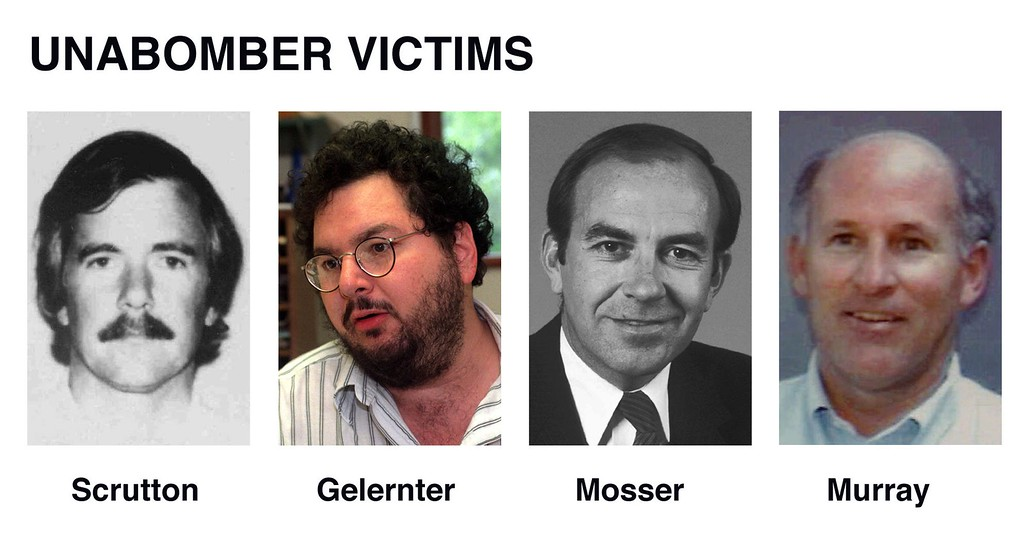 . Shown are some of the victims of the Unabomber attacks. From left, Hugh Scrutton, David Gelernter, Thomas Mosser, and Gilbert P. Murray. Scrutton,  Mosser, and Murray were all killed by a mail bomb which was either sent to their homes or their offices.  Gelernter survived the mail bomb attack       . (AP Photo/files)