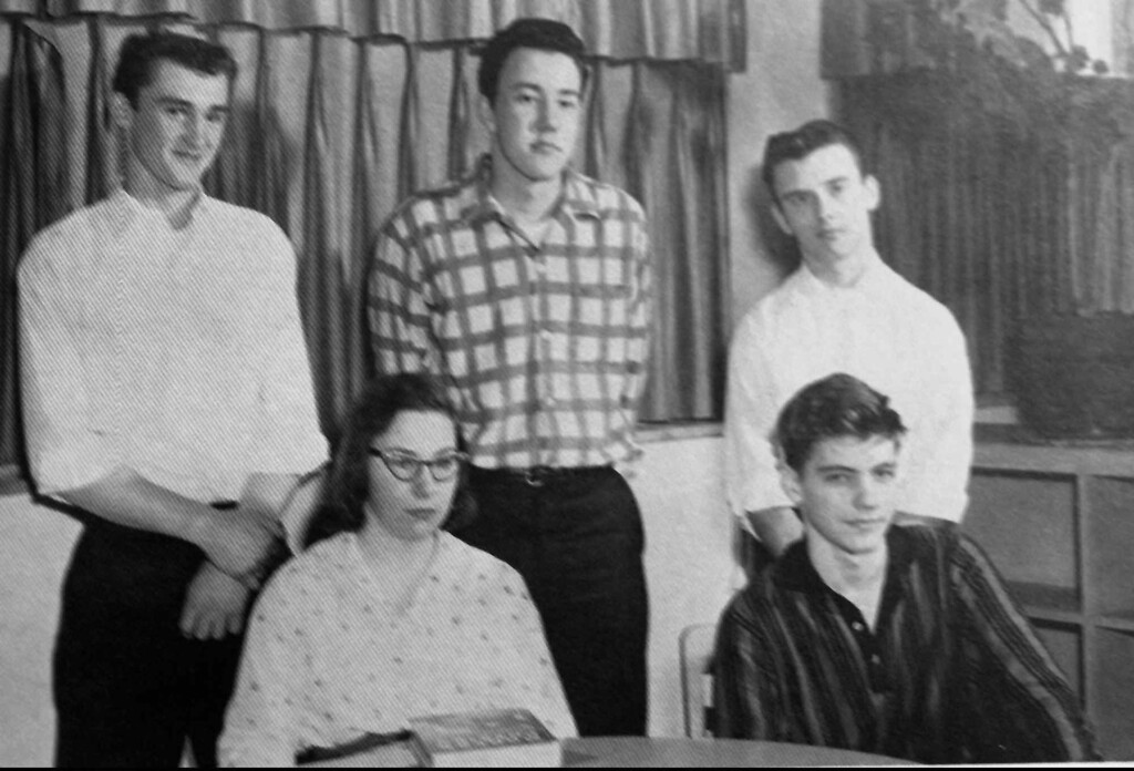 . FILE - Theodore Kaczynski, right front, is shown with other merit scholarship finalists in this photo from the 1958 Evergreen Park High School yearbook. Kaczynski was taken into custody Wednesday, April 3, 1996, in Lincoln, Mont., while federal agents searched his cabin, in connection with the Unabomber case.  (AP Photo/Evergreen High School Yearbook)