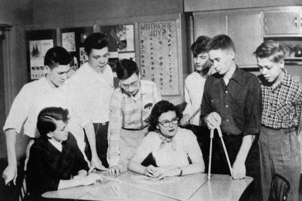 . Unabomber supect Theodore Kaczynski, third from right, is shown with fellow math club members in the 1958 yearbook from his senior year at Evergreen Park High School in suburban Chicago.  (AP Photo/Evergreen Park High School yearbook)