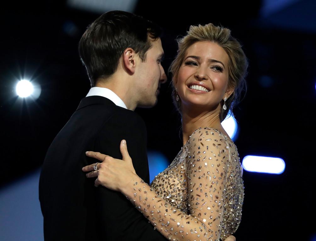 . Ivanka Trump and her husband Jared Kushner dance at the Freedom Ball, Friday, Jan. 20, 2017, in Washington. (AP Photo/Evan Vucci)