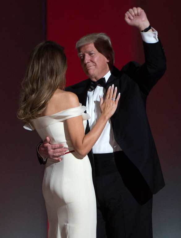 . US President Donald Trump and the first lady Melania Trump dance at the Liberty Ball at the Washington DC Convention Center following Donald Trump\'s inauguration as the 45th President of the United States, in Washington, DC, on January 20, 2017.  (MOLLY RILEY/AFP/Getty Images)