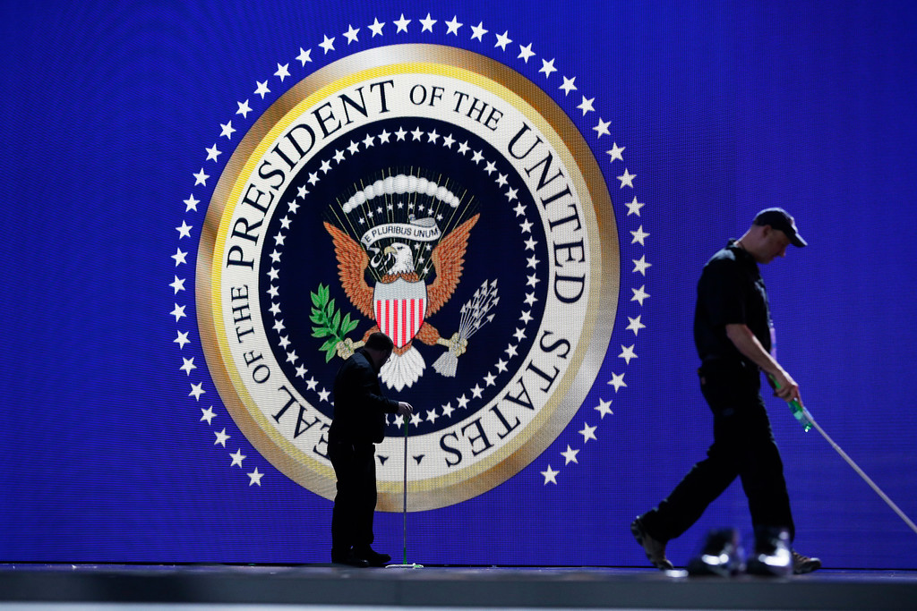 . Crews prepare the main stage for the Freedom Ball at the Washington Convention Center in Washington, Friday, Jan. 20, 2017, during the 58th presidential inauguration . (AP Photo/Mark Tenally)