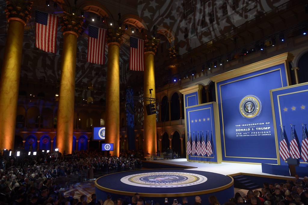 . Guests wait for US President Donald Trump and First Lady Melania Trump dance at the Armed Forces ball at the National Building Museum on January 20, 2017 in Washington, DC. (SAUL LOEB/AFP/Getty Images)