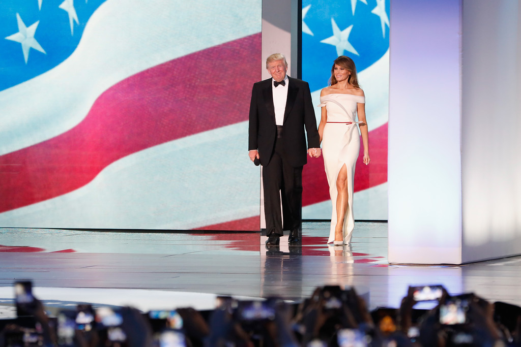 . WASHINGTON, DC - JANUARY 20:  President Donald Trump and first lady Melania Trump arrive at the Freedom Inaugural Ball at the Washington Convention Center January 20, 2017 in Washington, D.C.  President Trump was sworn today as the 45th U.S. President.  (Photo by Aaron P. Bernstein/Getty Images)