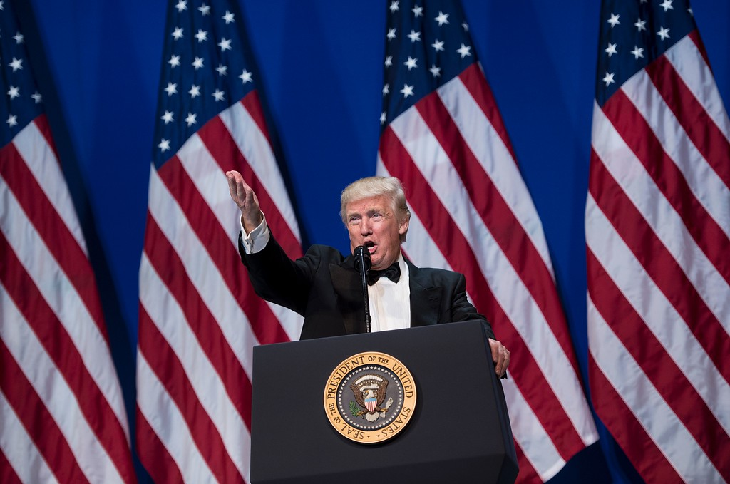 . US President Donald Trump speaks during the Armed Services Ball January 20, 2017 in Washington, DC. (BRENDAN SMIALOWSKI/AFP/Getty Images)