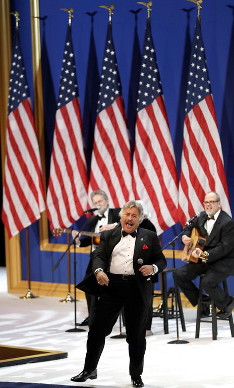 . Tony Orlando performs at The Salute To Our Armed Services Inaugural Ball Friday, Jan. 20, 2017, in Washington. (AP Photo/David J. Phillip)