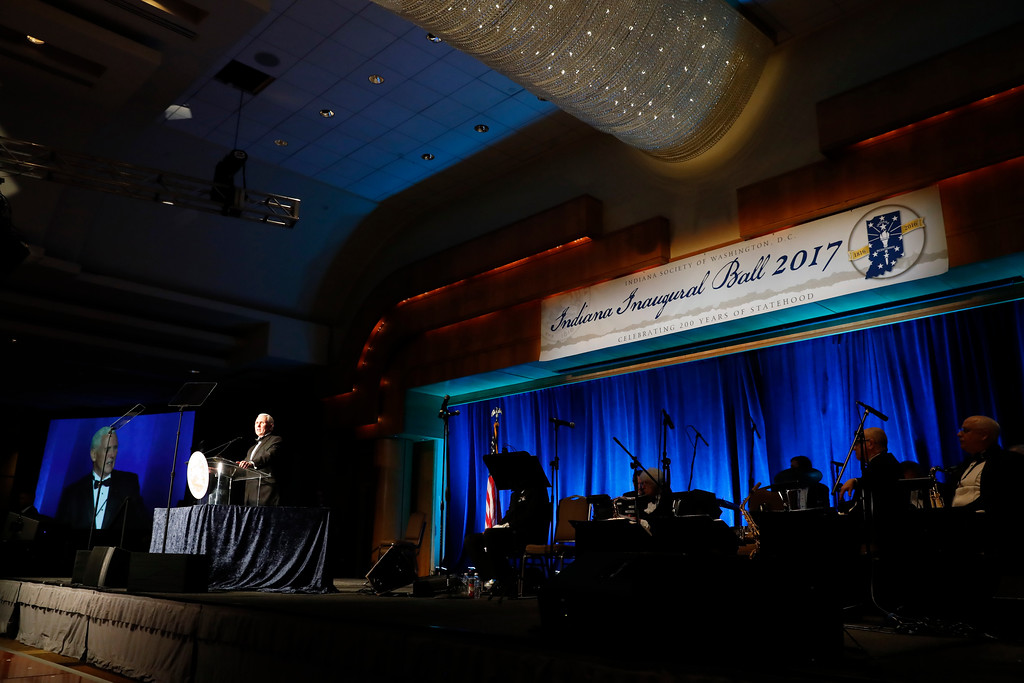 . Vice president-elect Mike Pence speaks at the Indiana Inaugural Ball, Thursday, Jan. 19, 2017 in Washington. (AP Photo/Alex Brandon)