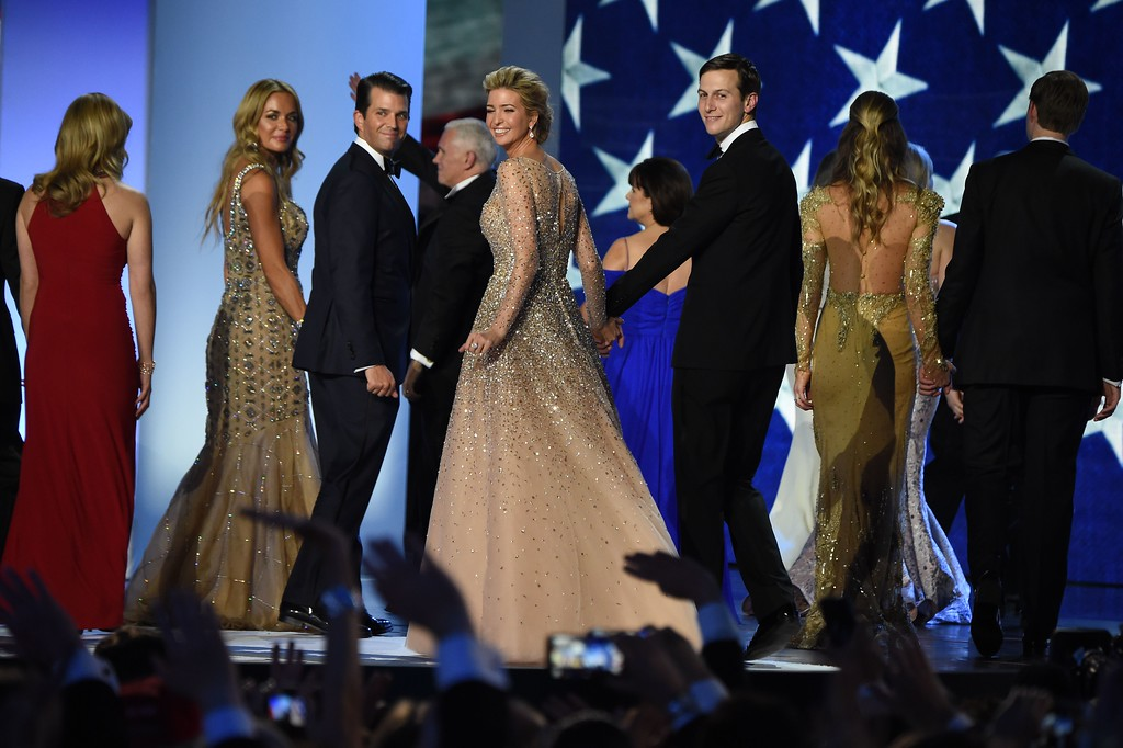 . From L to R : Vanessa and Donald Trump Jr, Ivanka Trump and Jared Kushner salute the crowd after dancing on stage during the Freedom ball at the Walter E. Washington Convention Center on January 20, 2017 in Washington, DC. (ROBYN BECK/AFP/Getty Images)