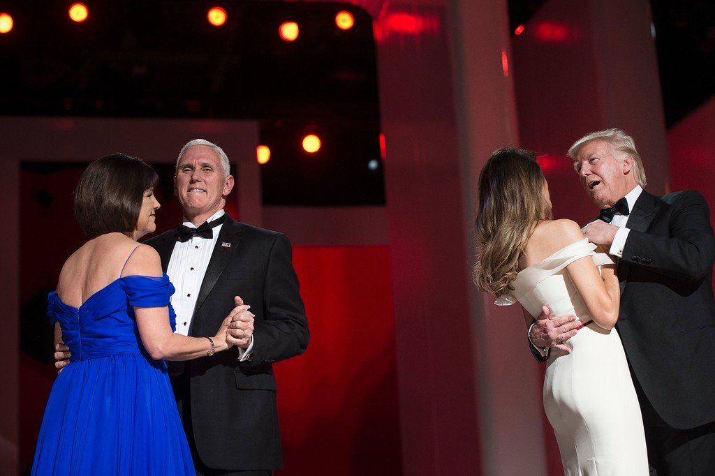 . US Vice President Mike Pence (2nd L) and his wife Karen dance with US President Donald Trump and first Lady Melania during the Liberty ball at the Walter E. Washington Convention Center on January 20, 2017 in Washington, DC. (BRENDAN SMIALOWSKI/AFP/Getty Images)