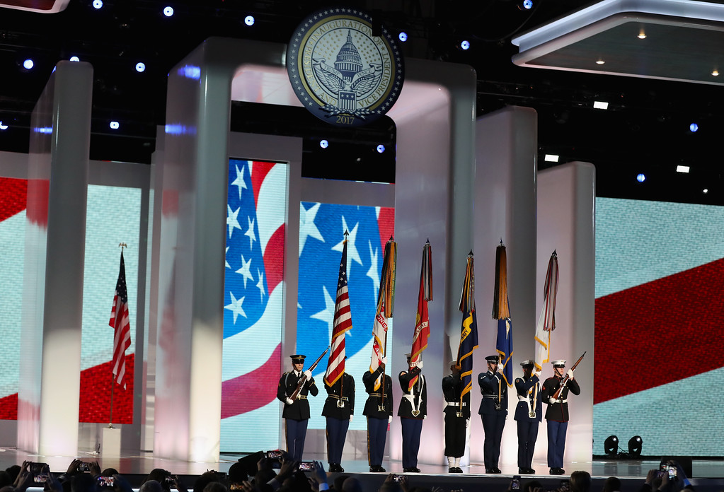 . WASHINGTON, DC - JANUARY 20: The presentation of colors is held before the start of the  Liberty Inaugural Ball on January 20, 2017 in Washington, DC.  The Liberty Ball is the first of three inaugural balls that President Donald Trump will be attending.  (Photo by Rob Carr/Getty Images)