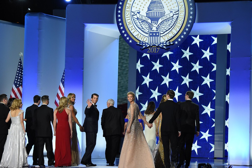 . Donald Trump Jr and Ivanka Trump smile after dancing during the Liberty and Freedom ball at t at the Walter E. Washington Convention Center on January 20, 2017 in Washington, DC. (ROBYN BECK/AFP/Getty Images)