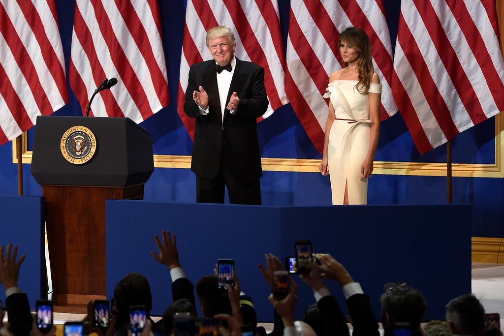 . US President Donald Trump and First Lady Melania Trump during the Salute to Our Armed Services Inaugural Ball at the National Building Museum in Washington, DC, January 20, 2017. (SAUL LOEB/AFP/Getty Images)