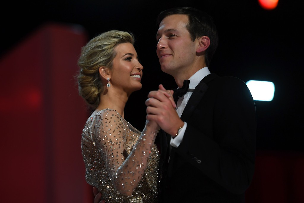 . Ivanka Trump and her husband Jared Kushner dance at the Liberty Ball at the Washington DC Convention Center following Donald Trump\'s inauguration as the 45th President of the United States, in Washington, DC, on January 20, 2017.  (JIM WATSON/AFP/Getty Images)