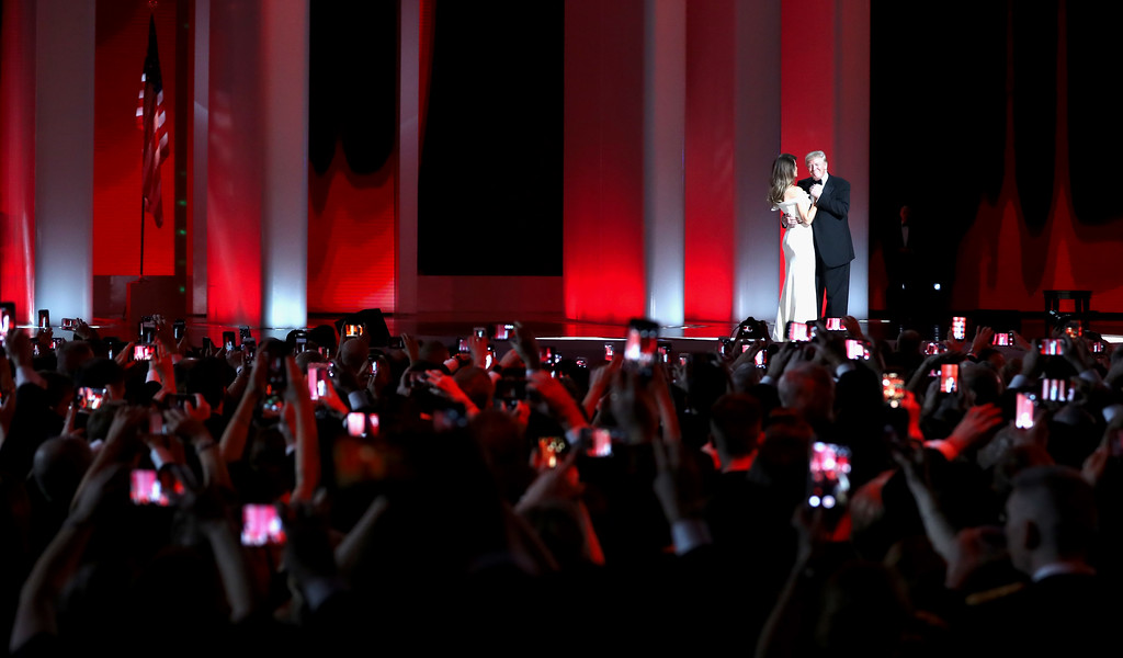 . WASHINGTON, DC - JANUARY 20:  President Donald Trump dances with wife Melania Trump at the Liberty Inaugural Ball on January 20, 2017 in Washington, DC.  The Liberty Ball is the first of three inaugural balls that President Donald Trump will be attending.  (Photo by Rob Carr/Getty Images)