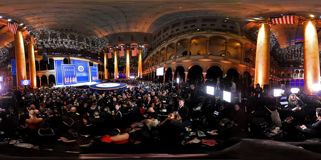 . A detailed view of the stage during A Salute To Our Armed Services Inaugural Ball at the National Building Museum on January 20, 2017 in Washington, DC. President Donald Trump was sworn in as the 45th President of the United States today.  (Photo by Alex Wong/Getty Images)