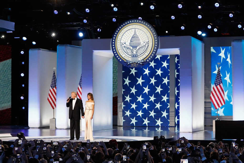 . WASHINGTON, DC - JANUARY 20:  President Donald Trump and first lady Melania Trump address the Freedom Inaugural Ball at the Washington Convention Center January 20, 2017 in Washington, D.C.  President Trump was sworn today as the 45th U.S. President.  (Photo by Aaron P. Bernstein/Getty Images)