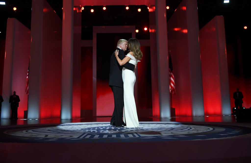 . US President Donald Trump and the first lady Melania Trump dance at the Liberty Ball at the Washington DC Convention Center following Donald Trump\'s inauguration as the 45th President of the United States, in Washington, DC, on January 20, 2017. (JIM WATSON/AFP/Getty Images)
