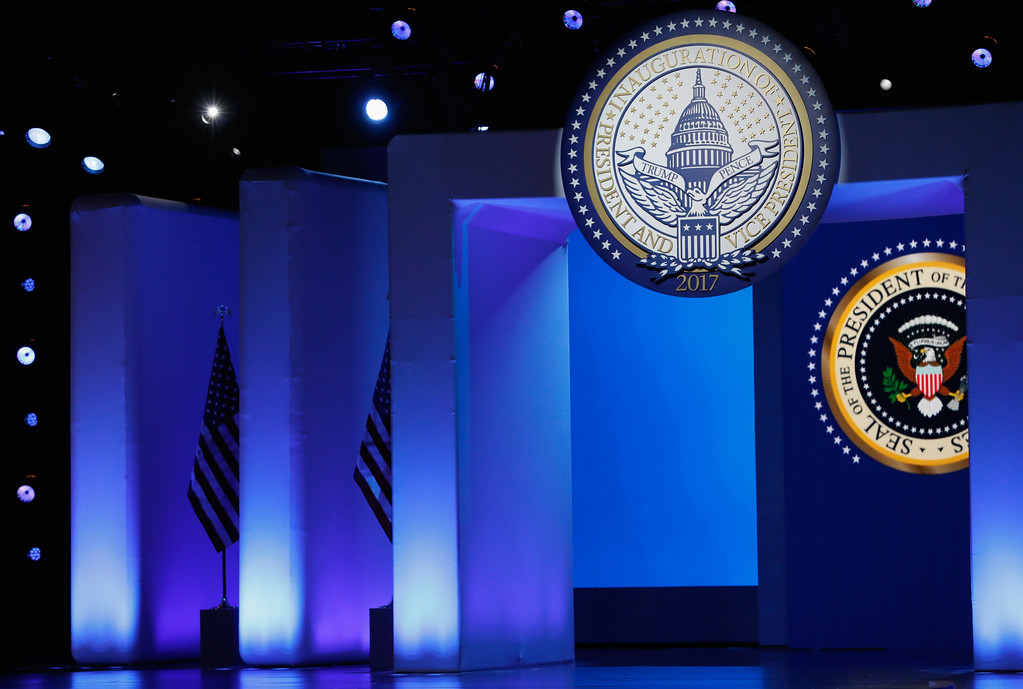 . WASHINGTON, DC - JANUARY 20:  The Presidential Seal is shown on stage prior to the start of the Freedom Inaugural Ball at the Washington Convention Center January 20, 2017 in Washington, D.C.  President Trump was sworn today as the 45th U.S. President.  (Photo by Aaron P. Bernstein/Getty Images)