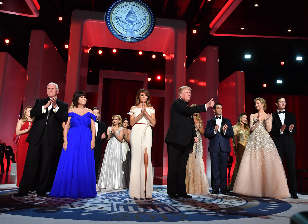 . WASHINGTON, DC - JANUARY 20: President Donald Trump and First Lady Melania Trump appear with family members and Vice President Mike Pence and his wife Karen Pence at the Liberty Ball at the Washington Convention Center on January 20, 2017 in Washington, D.C. Trump will attend a series of balls to cap hisInauguration day.    (Photo by Kevin Dietsch - Pool/Getty Images)