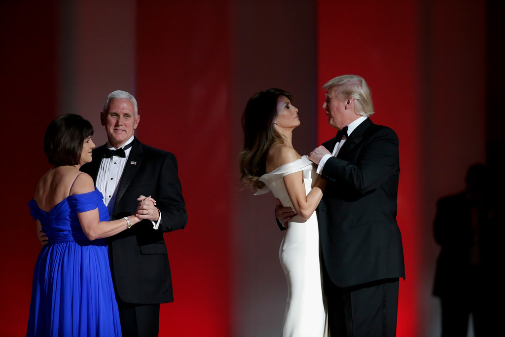 . WASHINGTON, DC - JANUARY 20:  Vice President Mike Pence and President Donald Trump dance with their wives at the Liberty Inaugural Ball on January 20, 2017 in Washington, DC.  The Liberty Ball is the first of three inaugural balls that President Donald Trump will be attending.  (Photo by Rob Carr/Getty Images)
