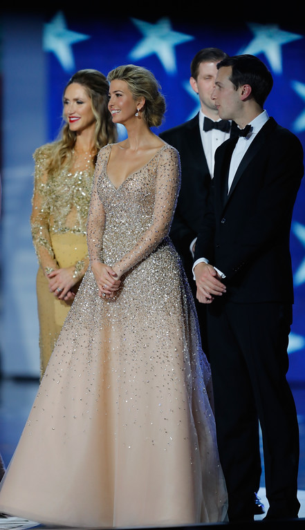 . WASHINGTON, DC - JANUARY 20:  Ivanka Trump (2nd L) and husband Jared Kushner smile on stage with Eric Trump and wife  Lara Trump (L)  at the Freedom Inaugural Ball at the Washington Convention Center January 20, 2017 in Washington, D.C.  President Trump was sworn today as the 45th U.S. President.  (Photo by Aaron P. Bernstein/Getty Images)