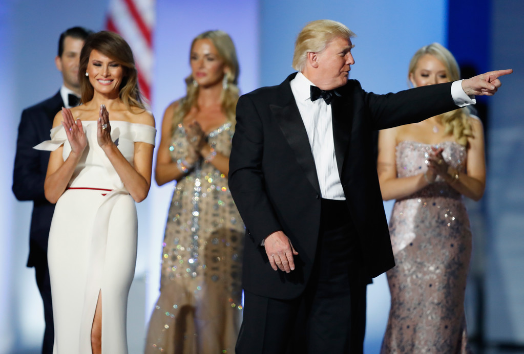 . WASHINGTON, DC - JANUARY 20:  President Donald Trump and first lady Melania Trump on stage at the Freedom Inaugural Ball at the Washington Convention Center January 20, 2017 in Washington, D.C.  President Trump was sworn today as the 45th U.S. President.  (Photo by Aaron P. Bernstein/Getty Images)
