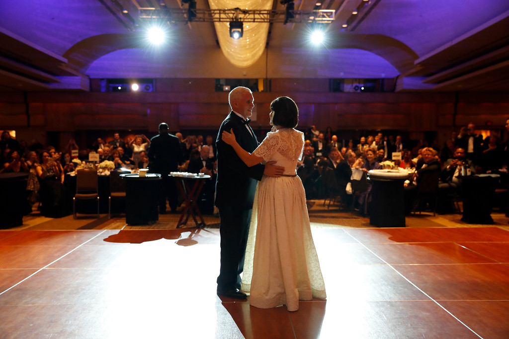 . Vice president-elect Mike Pence and his wife Karen Pence dance at the Indiana Inaugural Ball, Thursday, Jan. 19, 2017 in Washington. (AP Photo/Alex Brandon)