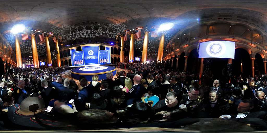 . WASHINGTON, DC - JANUARY 20:  (EDITOR\'S NOTE: Image was created as an Equirectangular Panorama. Import image into a panoramic player to create an interactive 360 degree view.) A detailed view of the stage during A Salute To Our Armed Services Inaugural Ball at the National Building Museum on January 20, 2017 in Washington, DC. President Donald Trump was sworn in as the 45th President of the United States today.  (Photo by Alex Wong/Getty Images)