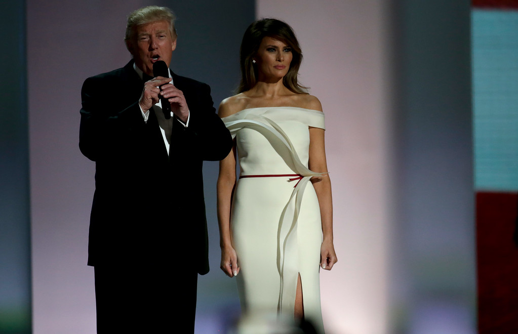 . WASHINGTON, DC - JANUARY 20:  President Donald Trump and First Lady Melania Trump attend the Liberty Inaugural Ball on January 20, 2017 in Washington, DC.  The Liberty Ball is the first of three inaugural balls that President Donald Trump will be attending.  (Photo by Rob Carr/Getty Images)