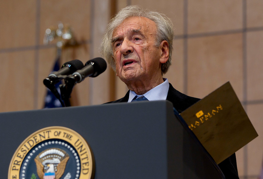 . Nobel Peace Prize laureate and Holocaust survivor Elie Wiesel speaks as the Holocaust Memorial Museum, before introducing President Barack, Obama, not seen, Monday, April 23, 2012, in Washington. (AP Photo/Carolyn Kaster)