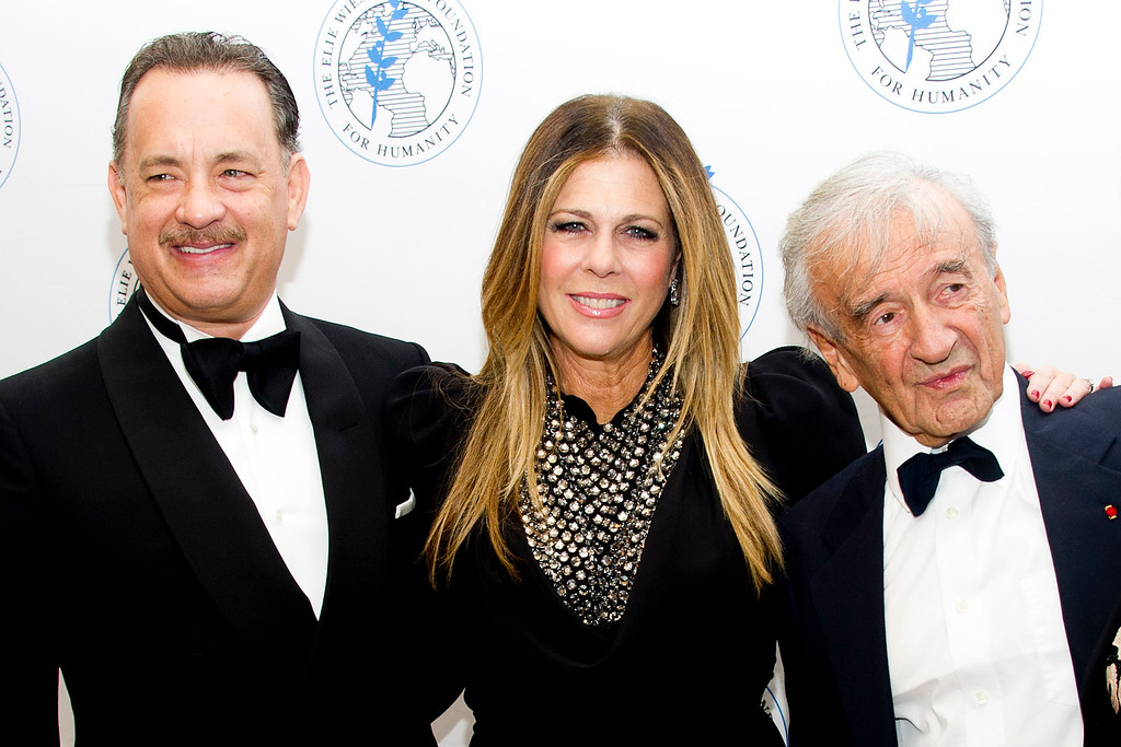 . Honoree Tom Hanks, left, Rita Wilson and Elie Wiesel attend The Elie Wiesel Foundation For Humanity\'s Arts for Humanity Gala on Wednesday, Oct. 17, 2012  in New York.  (Photo by Charles Sykes/Invision/AP)