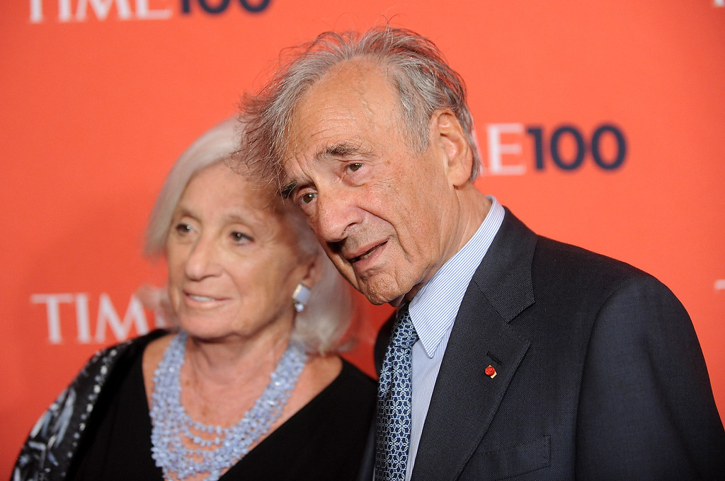 . Elie Wiesel, right, and guest attend the TIME 100 gala celebrating the 100 most influential people, at the Time Warner Center, Tuesday, May 4, 2010 in New York. (AP Photo/Evan Agostini)