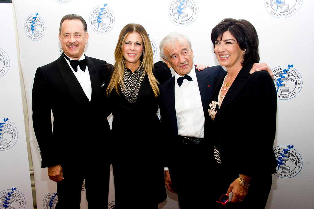 . Honoree Tom Hanks, left, Rita Wilson, Elie Wiesel and Christiane Amanpour attend The Elie Wiesel Foundation For Humanity\'s Arts for Humanity Gala on Wednesday, Oct. 17, 2012  in New York.  (Photo by Charles Sykes/Invision/AP)