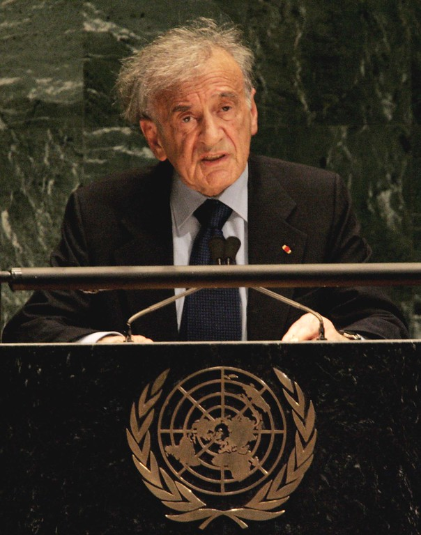 . Nobel prize winner Elie Wiesel speaks to a special session of the U.N. General Assembly to commemorate the 60th anniversary of the liberation of Nazi concentration camps, Monday Jan. 24, 2005. (AP Photo/Richard Drew)