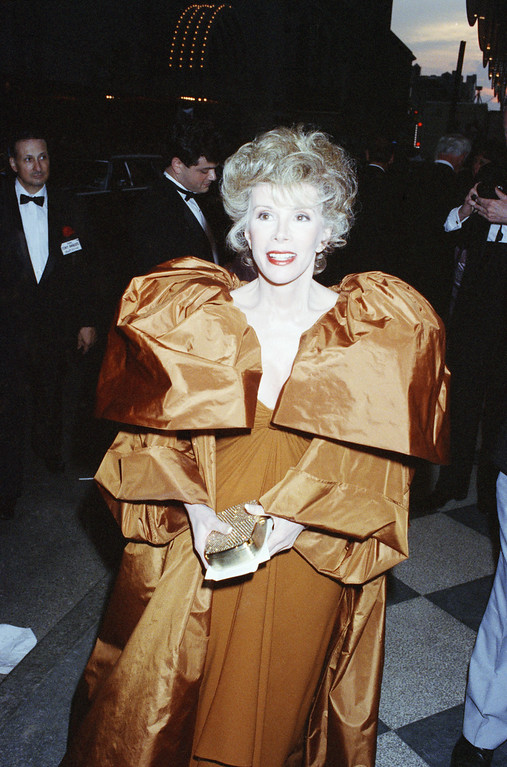 . Joan Rivers arrives at the Tony Awards in New York, June 2, 1990. (AP Photo/Malcolm Clarke)