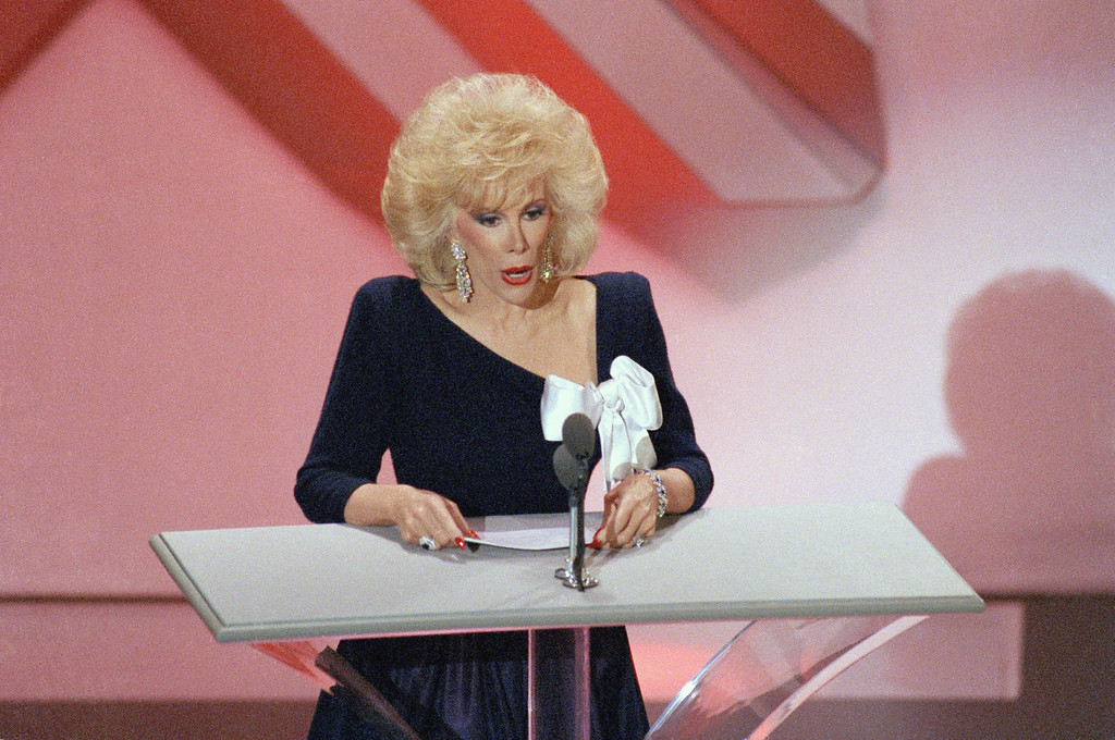 . Joan Rivers speaks during the Emmy Awards in Los Angeles, Sept. 20, 1986. (AP Photo/Nick Ut)