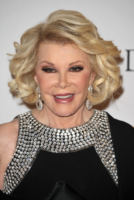 . TV personality Joan Rivers arrives at the Clive Davis Pre-GRAMMY Gala on Saturday, Feb. 9, 2013 in Beverly Hills, Calif. (Photo by John Shearer/Invision/AP)
