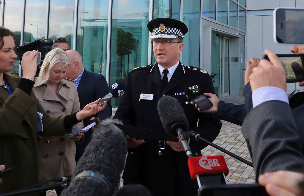 . Greater Manchester Police Chief Constable Ian Hopkins speaks to the media in Manchester Tuesday May 23, 2017. Police say they are treating an explosion at an Ariana Grande concert in northern England as terrorism.  (Peter Byrne/PA via AP)