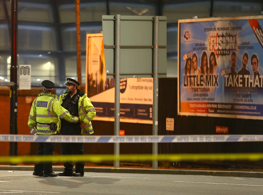 . MANCHESTER, ENGLAND - Police close to the Manchester Arena on May 23, 2017 in Manchester, England.  There have been reports of explosions at Manchester Arena where Ariana Grande had performed this evening.  Greater Manchester Police have have confirmed there are fatalities and warned people to stay away from the area. (Photo by Dave Thompson/Getty Images)