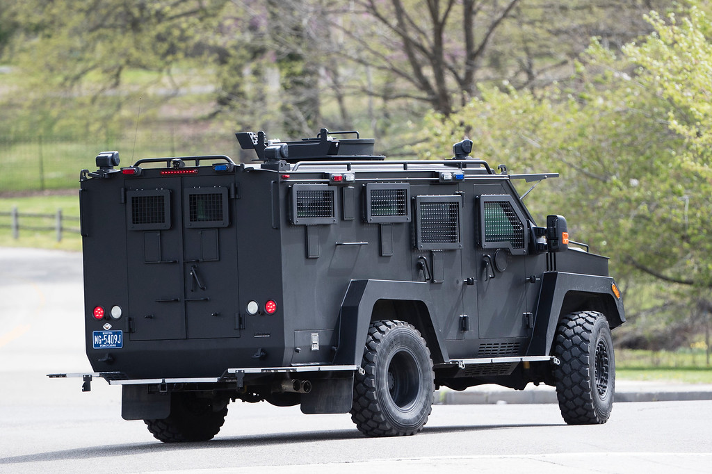 ". An armor police vehicle drives through Fairmount park in Philadelphia, Monday, April 17, 2017. Authorities in several states are on the lookout for a man police say shot a Cleveland retiree collecting aluminum cans and then posted video of the apparently random killing on Facebook. The suspect is identified as Steve Stephens, a 37-year-old job counselor. Police in Philadelphia say they have ""no indication\"" that the suspect in an apparently random killing in Cleveland is in Philadelphia. (AP Photo/Matt Rourke)"