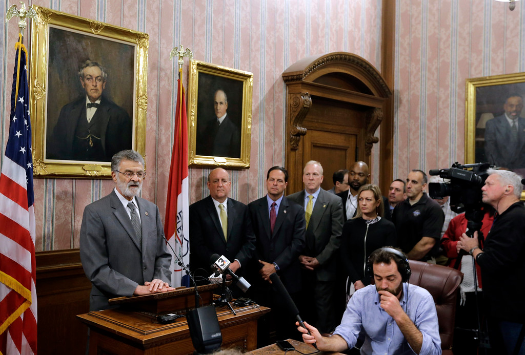 . Cleveland Mayor Frank Jackson speaks during a news conference Tuesday, April 18, 2017, in Cleveland. Jackson said the death of Steve Stephens, a man who randomly killed an Ohio retiree and posted Facebook video of the crime, brings some closure in the slaying of an innocent man.  (AP Photo/Tony Dejak)