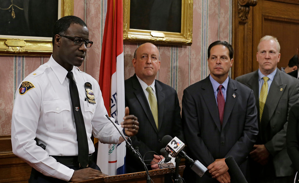 . Cleveland Police Chief Calvin Williams answers questions during a news conference, Tuesday, April 18, 2017, in Cleveland. Williams said Steve Stephens, who randomly killed a Cleveland retiree and posted video of the crime on Facebook, shot himself to death in his car Tuesday during a police chase in Pennsylvania, ending a multistate manhunt less than 48 hours after it began.  (AP Photo/Tony Dejak)