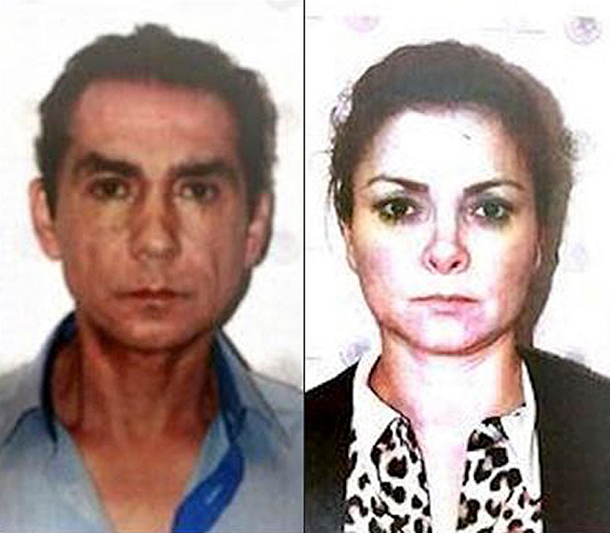 . FILE - This two-image composite of Nov. 5, 2014 photos released by the Mexico Attorney General\'s office, shows former Iguala Mayor Jose Luis Abarca, left, and his wife, Maria de los Angeles Pineda, after their arrest in Mexico City. After the 43 college rural students went missing, Abarca requested a leave of absence to make way for a full investigation, then went on the run with his wife. The politically connected couple were pulled out of their hiding place in a working class neighborhood of Mexico City and detained on Nov. 4. (AP Photo/PGR, File)