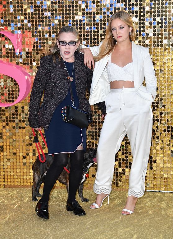 ". LONDON, ENGLAND - JUNE 29:  Carrie Fisher and Billie Catherine Lourd attend the ""Absolutely Fabulous: The Movie\""  World Premiere at the Odeon Leicester Square on June 29, 2016 in London, England.  (Photo by Gareth Cattermole/Getty Images)"
