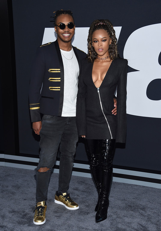 """. Ohana Bam, left, and Serayah attend the world premiere of Universal Pictures\' \""""The Fate of the Furious\"""" at Radio City Music Hall on Saturday, April 8, 2017, in New York. (Photo by Evan Agostini/Invision/AP)"""