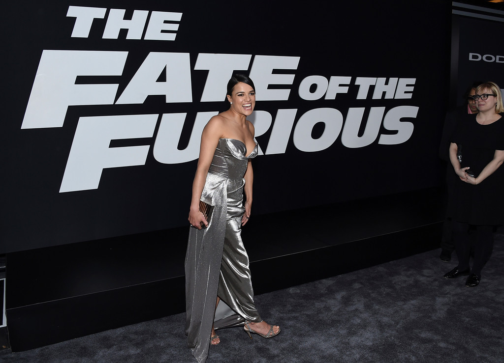 """. Michelle Rodriguez attends the world premiere of Universal Pictures\' \""""The Fate of the Furious\"""" at Radio City Music Hall on Saturday, April 8, 2017, in New York. (Photo by Evan Agostini/Invision/AP)"""