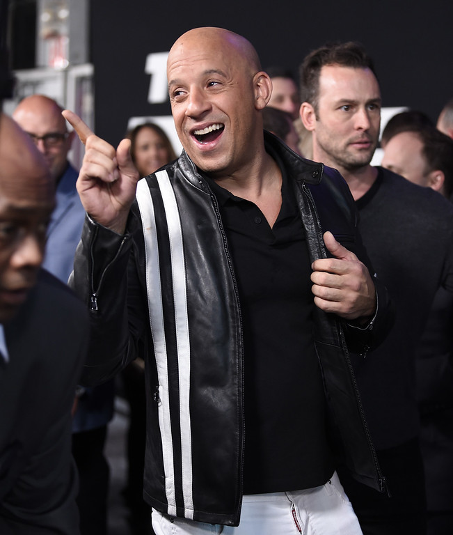 ". Vin Diesel attends the world premiere of Universal Pictures\' ""The Fate of the Furious\"" at Radio City Music Hall on Saturday, April 8, 2017, in New York. (Photo by Evan Agostini/Invision/AP)"