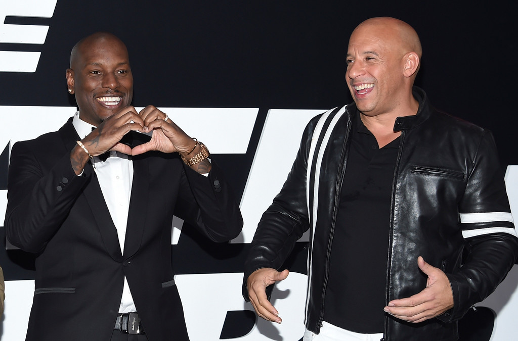 ". Tyrese Gibson, left, and Vin Diesel attend the world premiere of Universal Pictures\' ""The Fate of the Furious\"" at Radio City Music Hall on Saturday, April 8, 2017, in New York. (Photo by Evan Agostini/Invision/AP)"