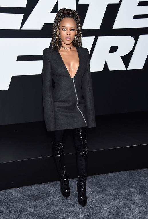 ". Serayah attends the world premiere of Universal Pictures\' ""The Fate of the Furious\"" at Radio City Music Hall on Saturday, April 8, 2017, in New York. (Photo by Evan Agostini/Invision/AP)"